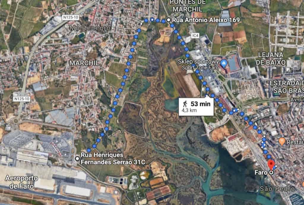 trasa pieszo z lotniska do centrum Faro