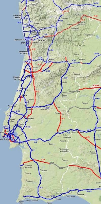 Mapa autostrad w Portugalii