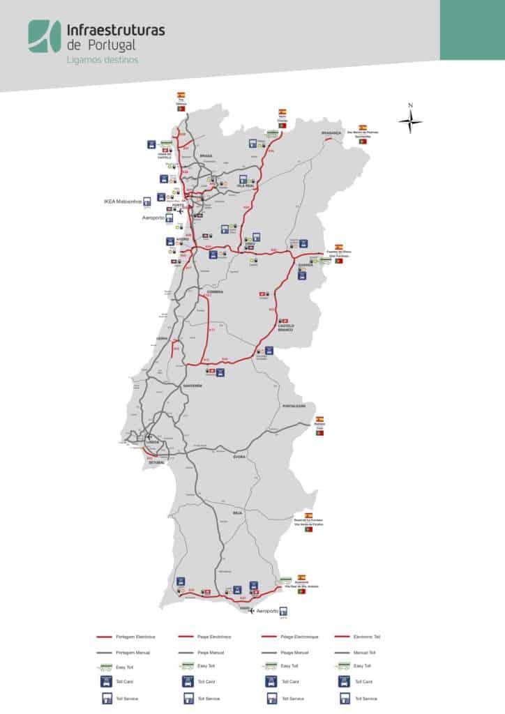 Mapa z punktami TollCard w Portugalii
