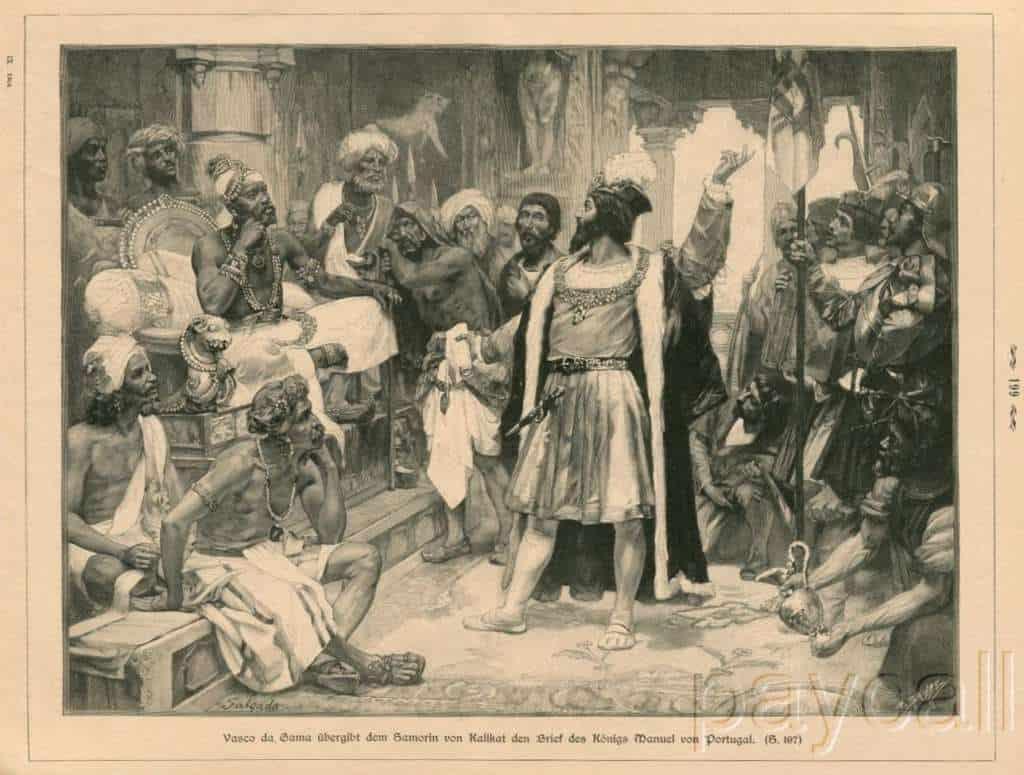 Vasco da Gama handluje z władcą indyjskim