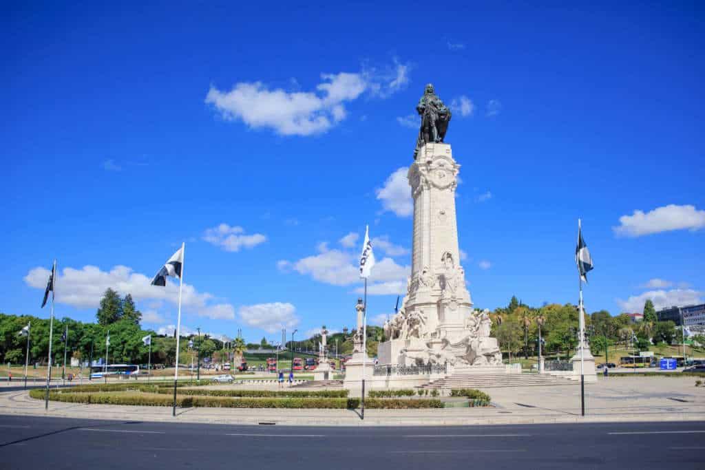 widok na pomnik Markiza de Pombal